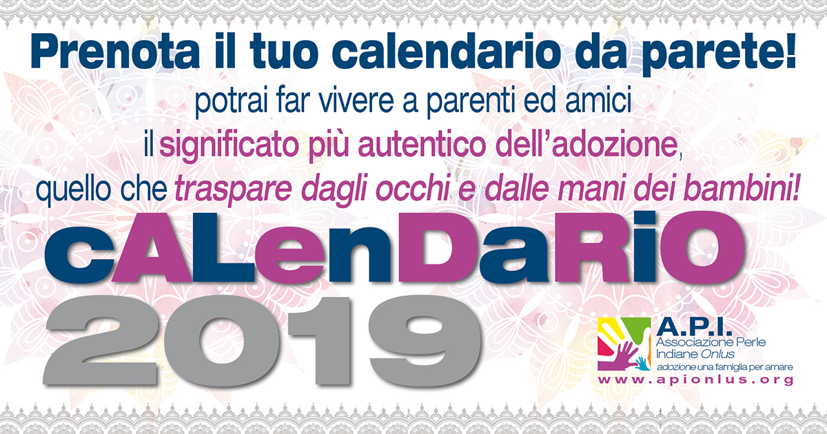 Calendario Significato.Donazione Calendario A P I Associazione Perle Indiane Onlus